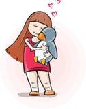 Meisje met pinguïn Stock Foto's