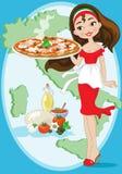 meisje met pizza Stock Foto