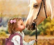 Meisje met poney Stock Afbeeldingen