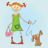 Meisje met Puppy vector illustratie