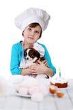 Meisje met puppy Stock Foto