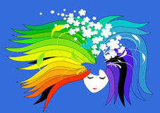 Meisje met regenboog-gekleurd haar Stock Afbeelding