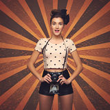 Meisje met retro camera Royalty-vrije Stock Foto
