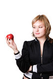 Meisje met rode appel Stock Foto's