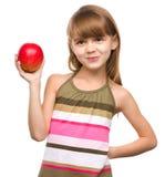 Meisje met rode appel royalty-vrije stock afbeelding