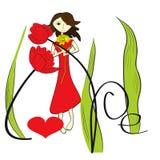 Meisje met rode bloemen Stock Fotografie