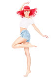 Meisje met rode hoed Stock Afbeelding