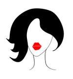 Meisje met rode lippen Stock Foto's