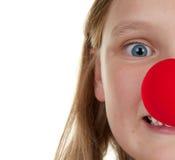 Meisje met rode neus Stock Afbeeldingen