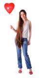 Meisje met rood ballonhart Royalty-vrije Stock Afbeeldingen