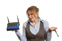 Meisje met router Stock Foto