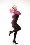 Meisje met roze beurs Stock Afbeelding
