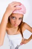 Meisje met roze hoed royalty-vrije stock foto's