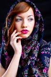 Meisje met roze make-up royalty-vrije stock afbeeldingen