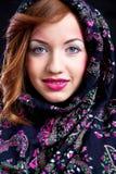 Meisje met roze make-up en steunen royalty-vrije stock foto's