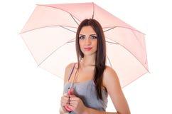Meisje met roze paraplu Royalty-vrije Stock Foto