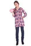Meisje met roze spaarvarken Stock Foto