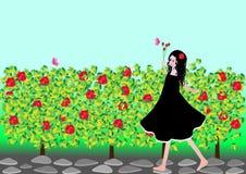 Meisje met rozen Stock Foto