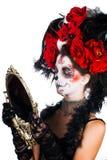Meisje met samenstelling in de stijl van Halloween Royalty-vrije Stock Afbeelding
