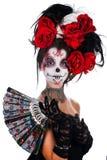 Meisje met samenstelling in de stijl van Halloween Royalty-vrije Stock Foto's