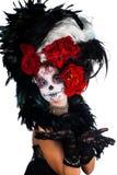 Meisje met samenstelling in de stijl van Halloween Stock Foto