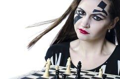 Meisje met schaak Royalty-vrije Stock Afbeelding