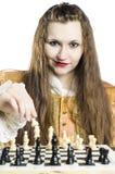Meisje met schaak Royalty-vrije Stock Foto