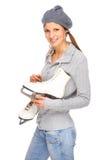 Meisje met schaats Stock Foto