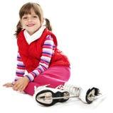 Meisje met schaatsen Stock Fotografie