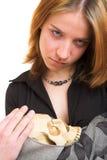 Meisje met schedel Royalty-vrije Stock Foto