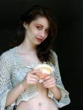 Meisje met shell 3 Stock Foto