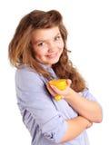 Meisje met sinaasappel Stock Foto