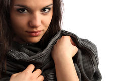 Meisje met sjaal Stock Afbeeldingen
