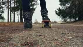 Meisje met skateboard dichte omhooggaand stock video