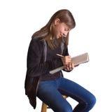 Meisje met Sketchbook Stock Afbeeldingen