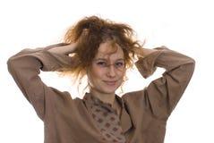 Meisje met slordig haar Royalty-vrije Stock Fotografie