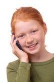 Meisje met smartphone Stock Foto's
