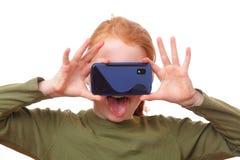 Meisje met smartphone Royalty-vrije Stock Afbeelding