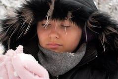 Meisje met sneeuw Royalty-vrije Stock Afbeelding