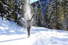 Meisje met sneeuwstof Royalty-vrije Stock Foto