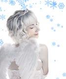 Meisje met sneeuwvlokken Stock Foto