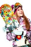 Meisje met snowboard Royalty-vrije Stock Afbeeldingen