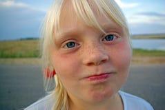Meisje met sproeten stock afbeeldingen