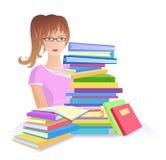 Meisje met stapel van boeken Royalty-vrije Stock Afbeelding