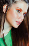 Meisje met sterke make-up Stock Afbeelding