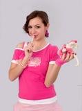 Meisje met suikergoed Stock Afbeeldingen