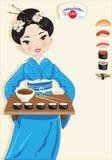 Meisje met sushi Stock Afbeeldingen