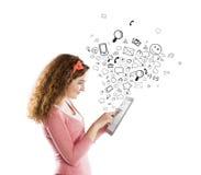 Meisje met tablet Stock Foto's