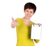 Meisje met tablet voor uw tekst stock afbeeldingen