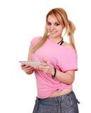 Meisje met tabletpc stock afbeelding
